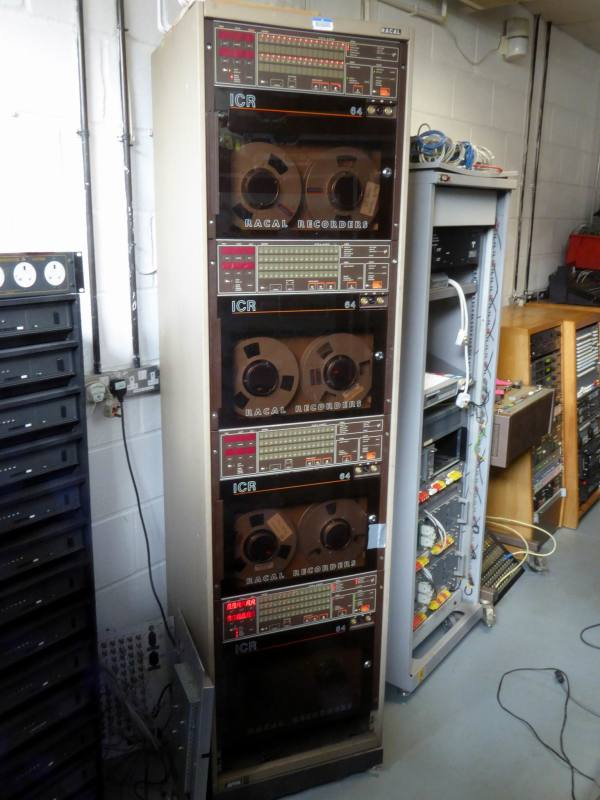Partly practical smoked glass rack with quad reel to reel tape spools & multiple LEDs