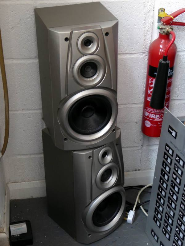 Silver Japanese hi-fi speakers