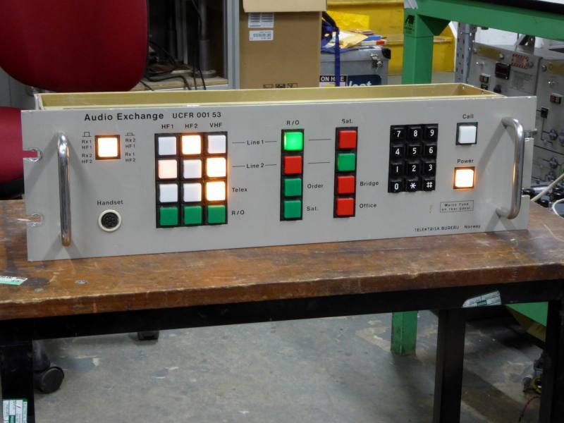 Audio Exchange practical panel with illuminated square buttons
