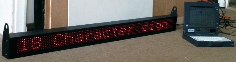 1.4metre, 18 character red LED scrolling matrix sign