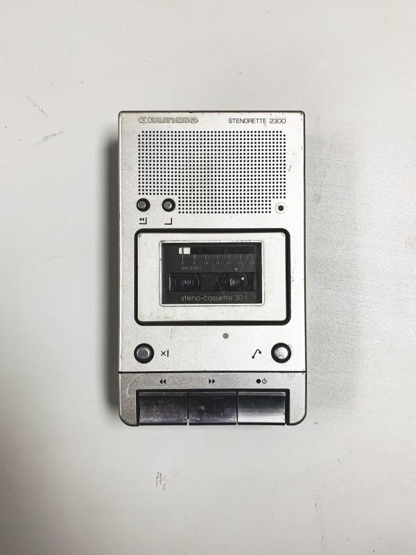 Vintage Silver Mini Cassette recorder (Grundig Stenorette 2300)