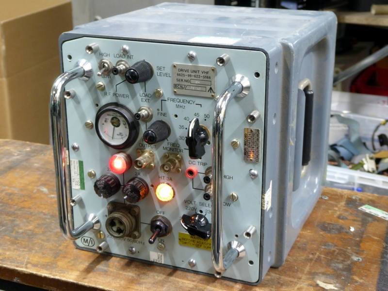 Practical desktop military control box with switches, lamps & meter