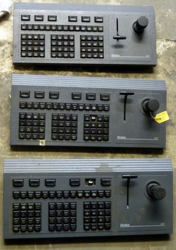 Charcoal grey CCTV control consoles