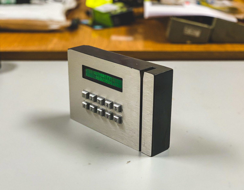 Modern looking card swipe entry panel with keypad and green display messages