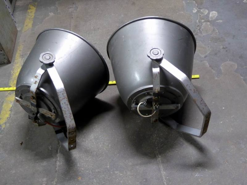 Large squat shaped PA/Tannoy speakers