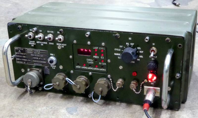 Practical olive coloured army electronics box with animated LED display