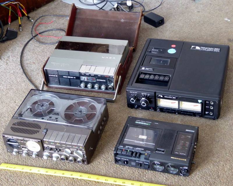 Selection of journalist/reporter style portable tape recorders from the 1960s to the 1980s.