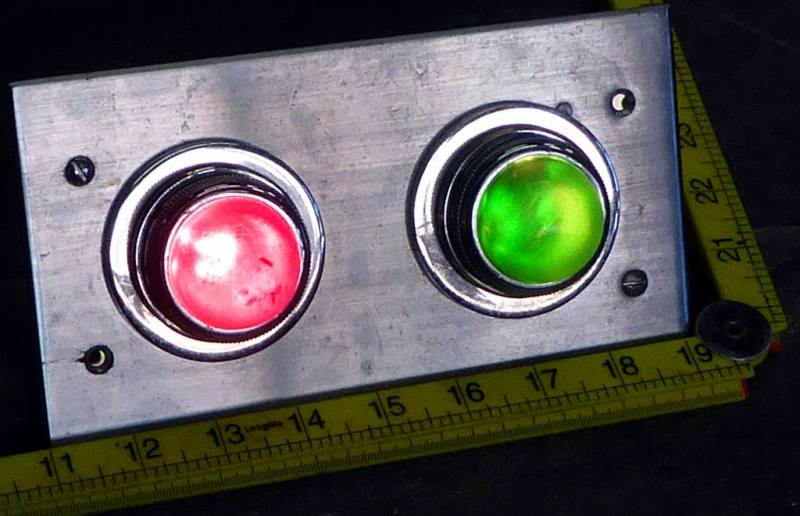 Practical period BBC studio coloured warning lamps