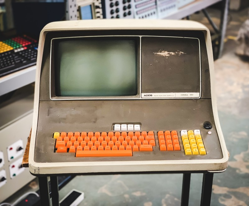 Stylish period computer terminal (ADDS) with orange keys