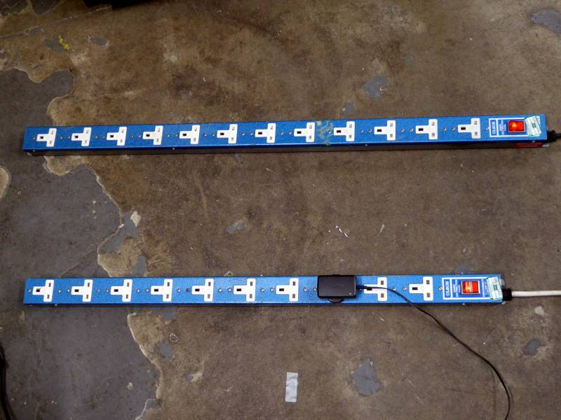 Multi way period mains socket strips in metallic blue