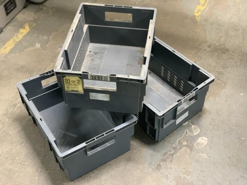 Grey plastic crates