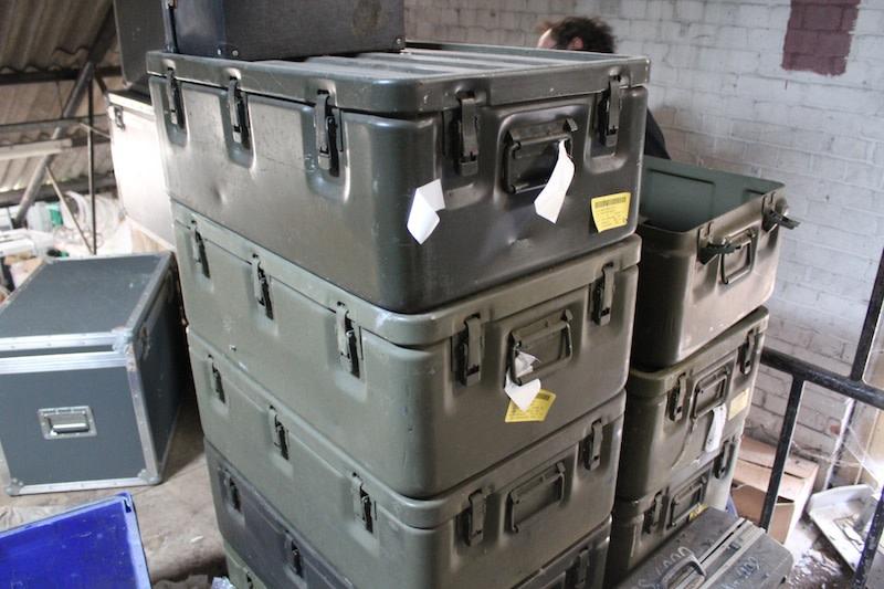Khaki green military flight cases