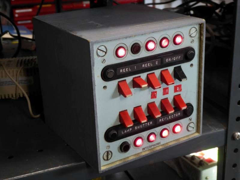 Practical admiralty blue navy panel with red lever tab switches & jewelled LEDs