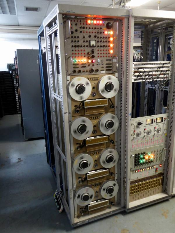 Practical electronics server rack with retro panel & 4 reel to reel tape drives