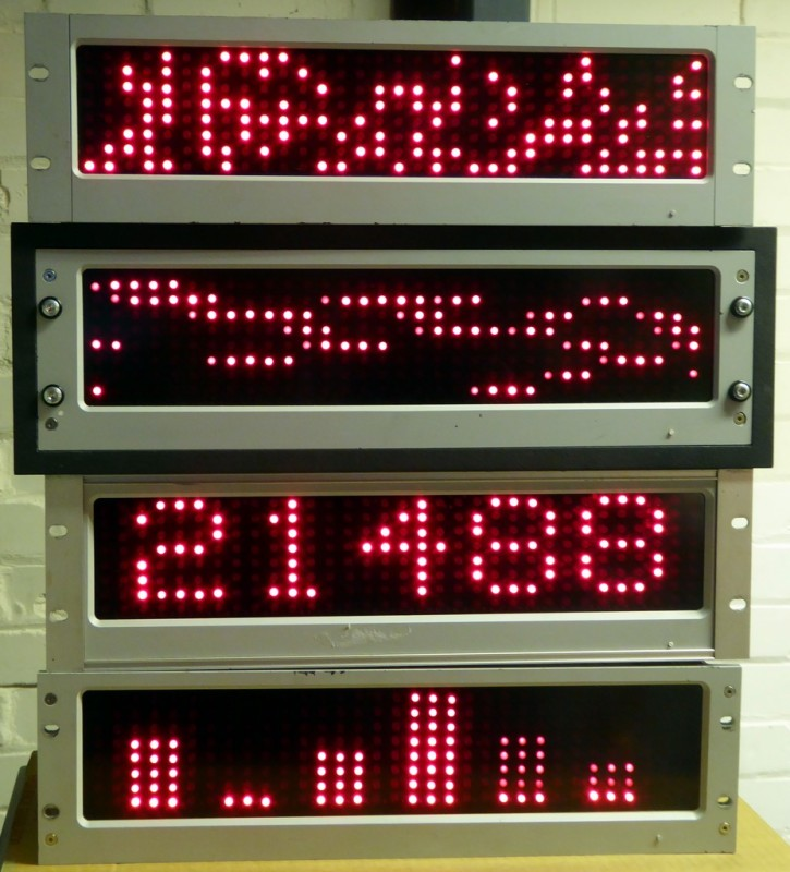 Practical programmable dot matrix display panels for rack or cabinet mounting