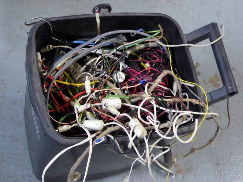 Scrap wire bin. Mostly short lengths for copper recovery