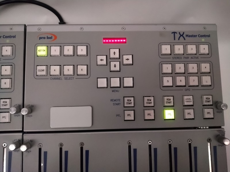Practical Pro-Bel TX Master Control consoles with long linear faders & LED displays