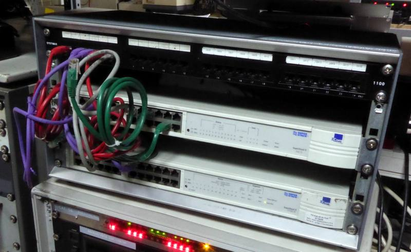 Practical ethernet networking cabinet with twinkling LEDs