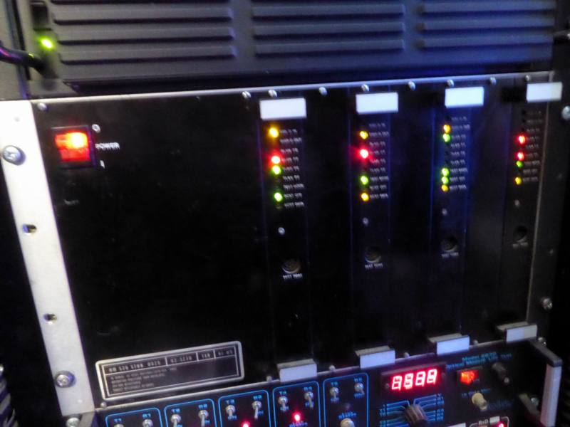 Practical black server panel with columns of coloured LEDs