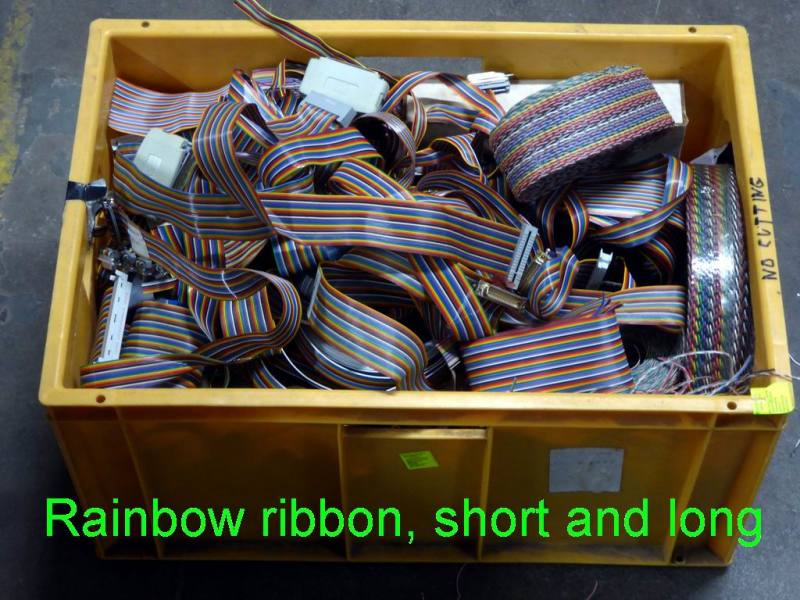 Assorted crates of colourful & plain dressing cable