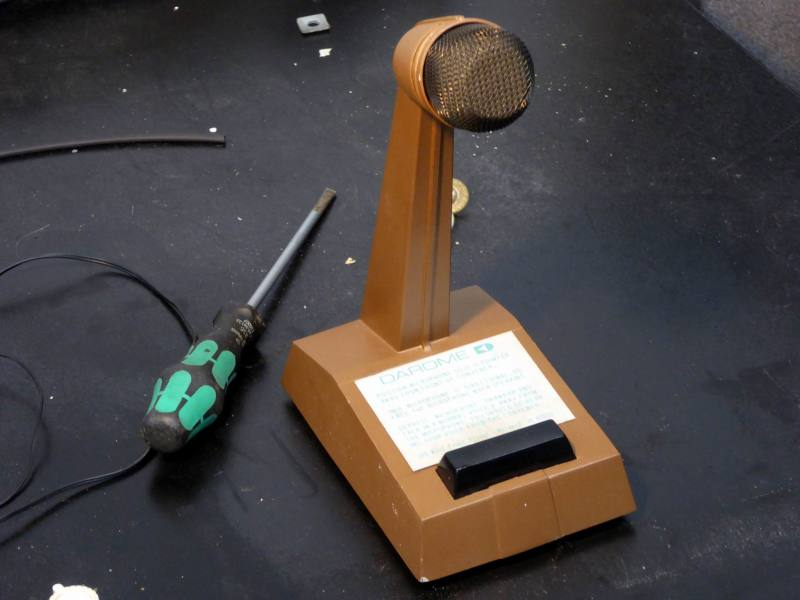 1960s period brown desktop microphone with Press To Talk button