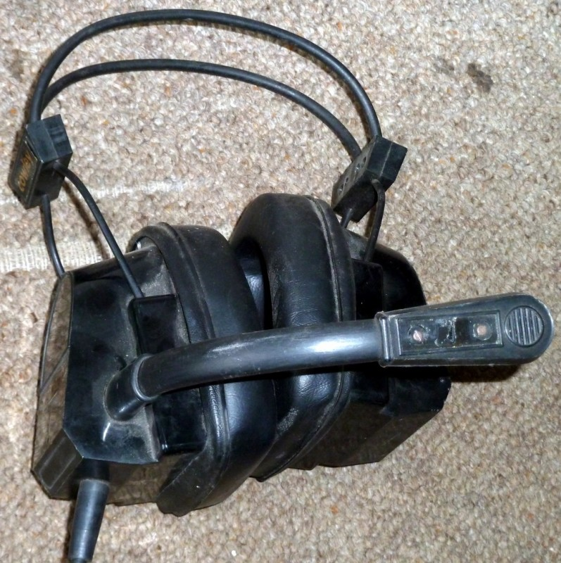 Chunky black military headset