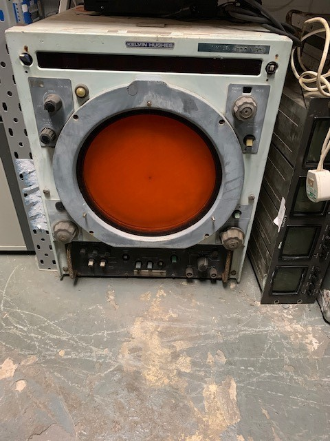 Large blue heavy-duty Naval radar viewer