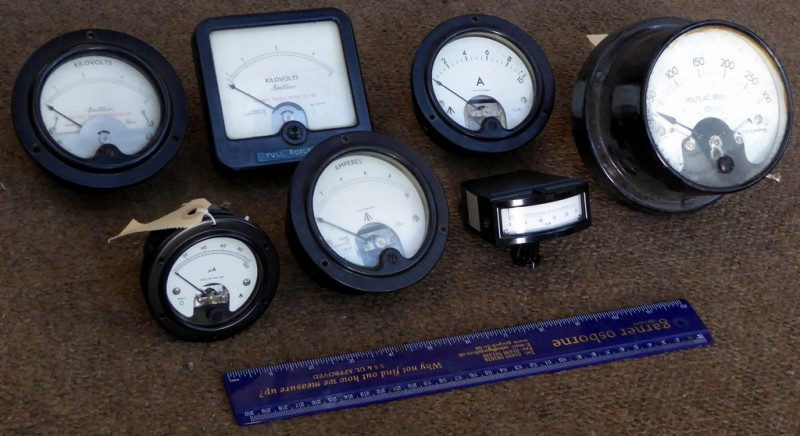 Example Selection of Period black bakelite electrical meters