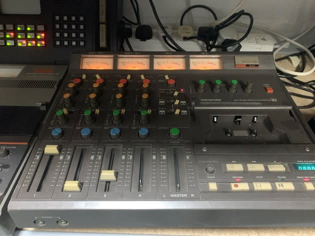 4 channel mixer console with cassette recorder (Tascam)