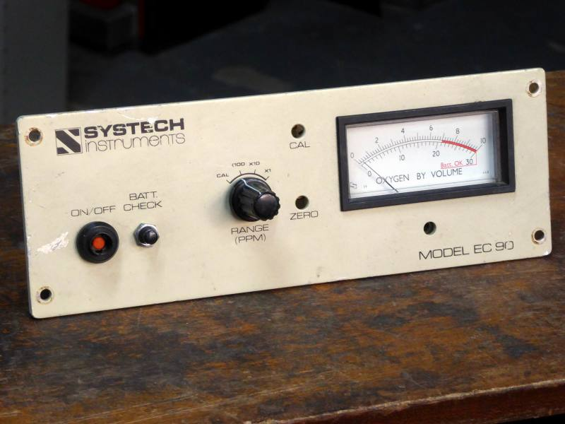 Rectangular electrical panel meter with part red scale.