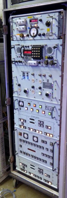 Navy/military control panels mounted in ruggedised, wheeled rack