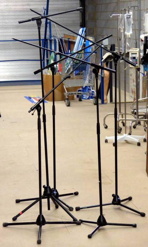 Professional microphone stands with sliding boom arm