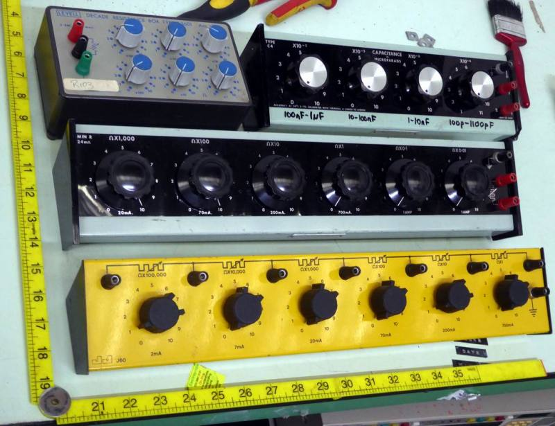 Selection of electronics laboratory decade resistance & capacitance boxes with bold knobs