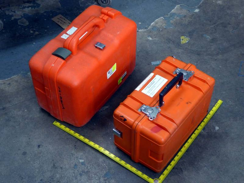 Orange ruggedised Peli style cases