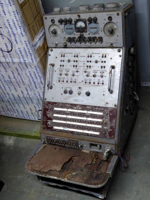 Cold war era control console with analogue meter, multiple switches & patch panel