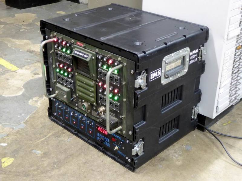 Ruggedised black flight case fitted with standard 19