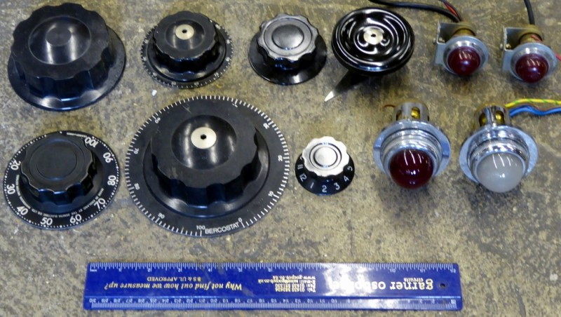 Showcase selection of giant knobs for making up control panels