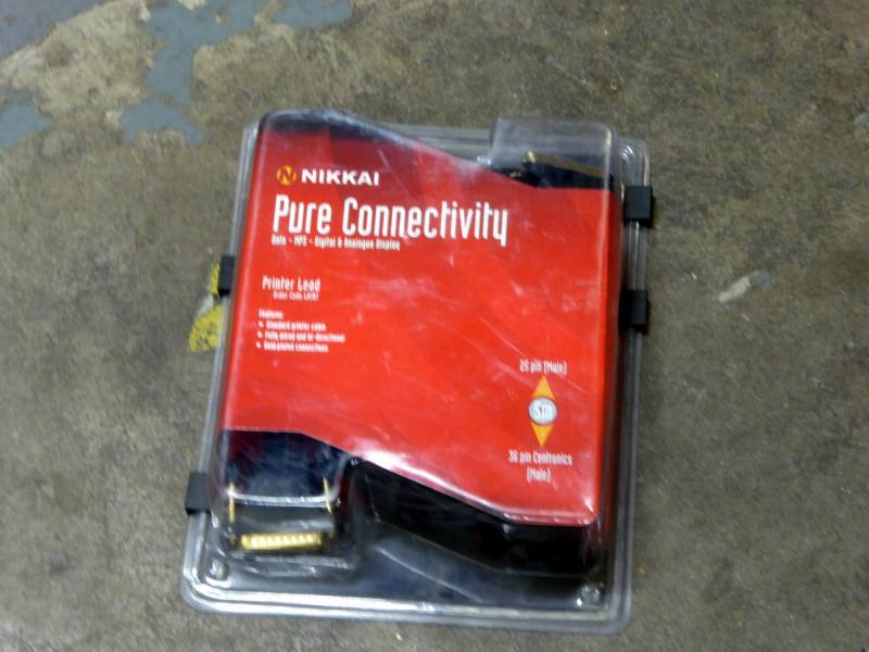 Black PC printer cable with gold connectors in original packing