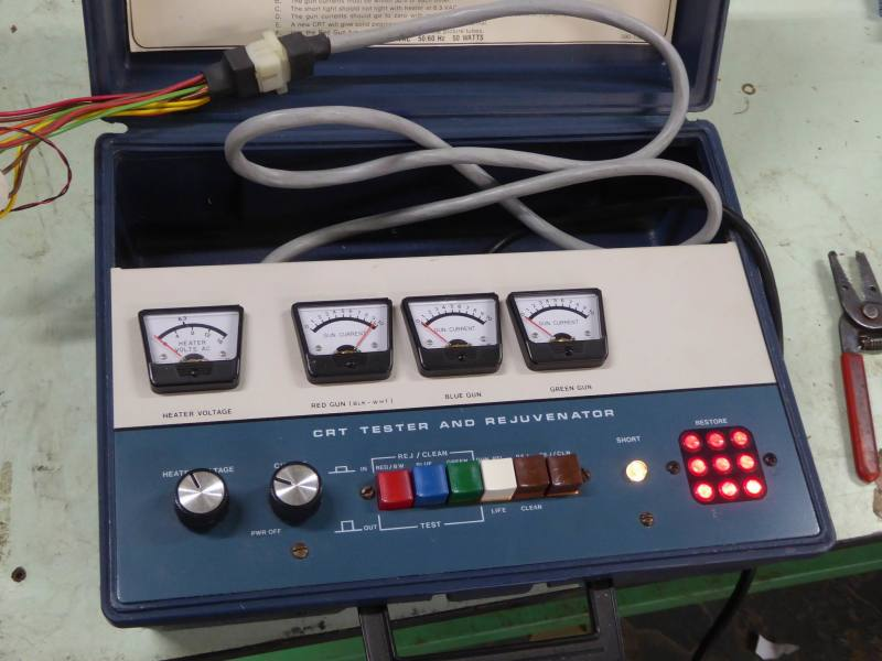 Practical control panel in portable case with meters, knobs, coloured buttons & lamps
