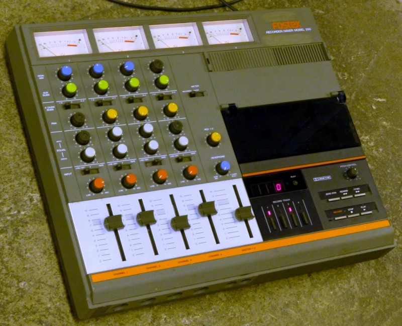 4 channel mixer console with casette recorder