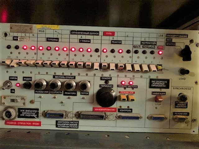 Practical military panel with Lever tab switches, LEDs & Russian Cyrillic labels