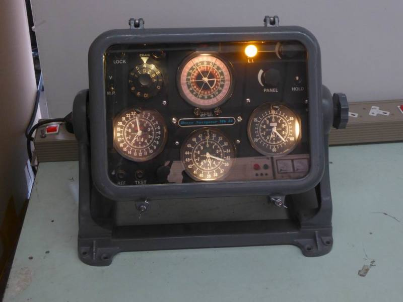 Practical roundy cornered military style console with illuminated dials & lamp