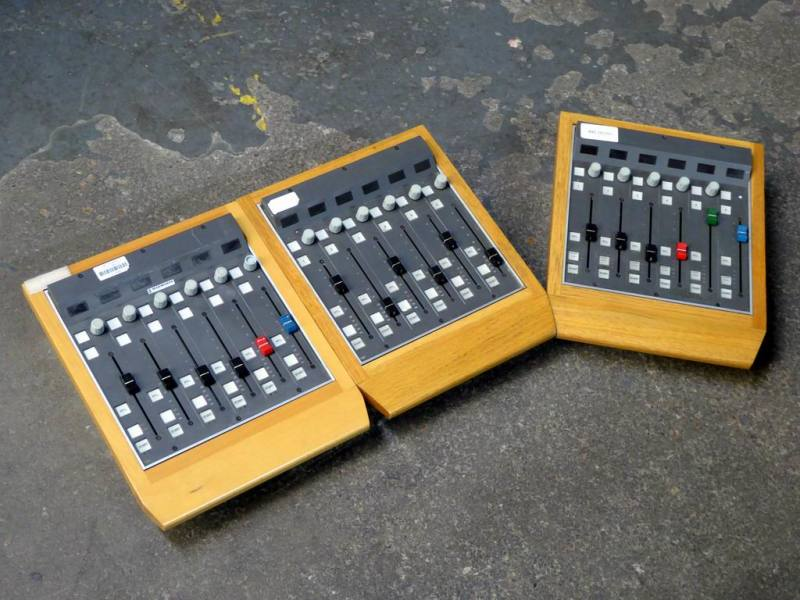 Audio mixer modules with linear faders & wood surrounds