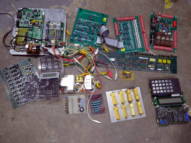 Assortment of PCBs & technical components for lab bench dressing