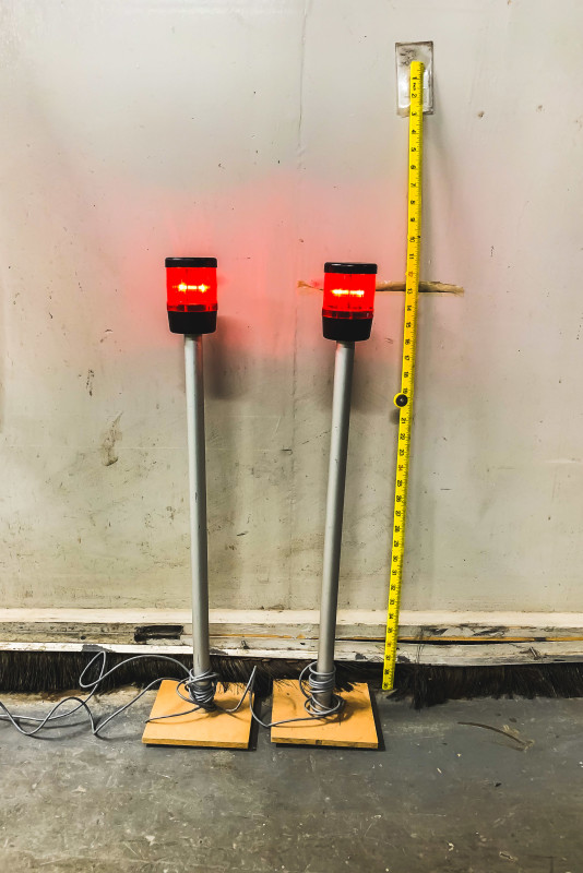 Red beacon lights on poles (static)