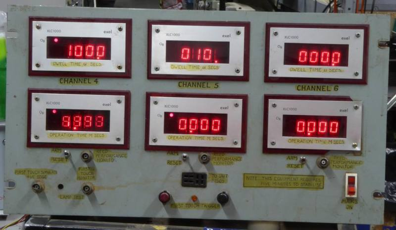 Cold war/navy panel with 6 red numeric displays