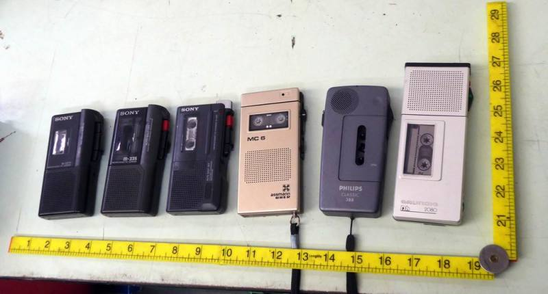 Selection of mini cassette Dictaphones