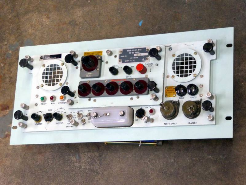 Real world British navy radio control panel with knobs, switches & grills