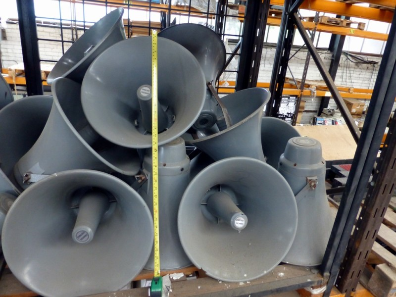 Tannoy type large PA public address horn loudspeakers