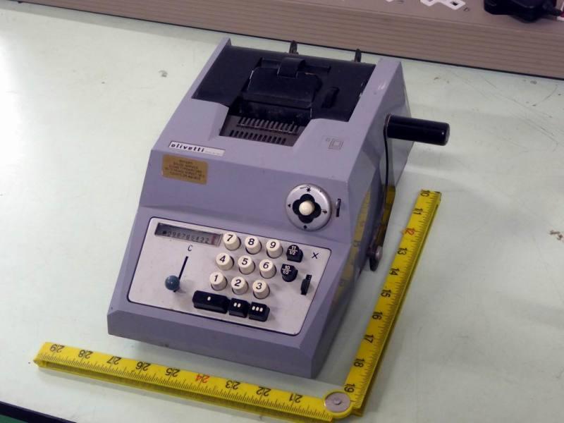 Period Olivetti hand cranked mechanical calculator